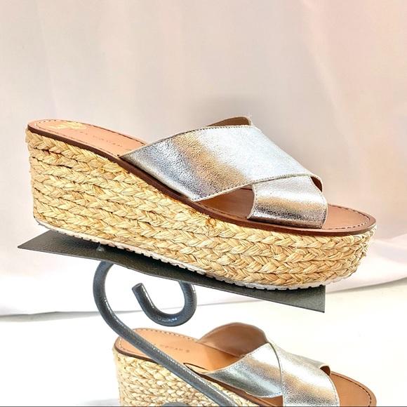 Zara Silver Platform Sandal Espadrilles Size 9